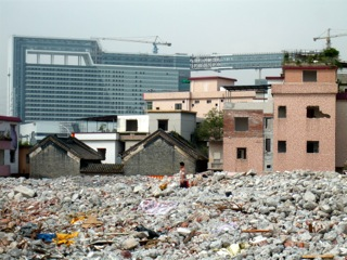 Figure 2: Flattened former rural village in Guangzhou (Photograph by Hyun Bang Shin, 2010)